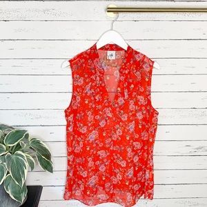 Heart of Cabi Crush Ruffle Red Floral Top